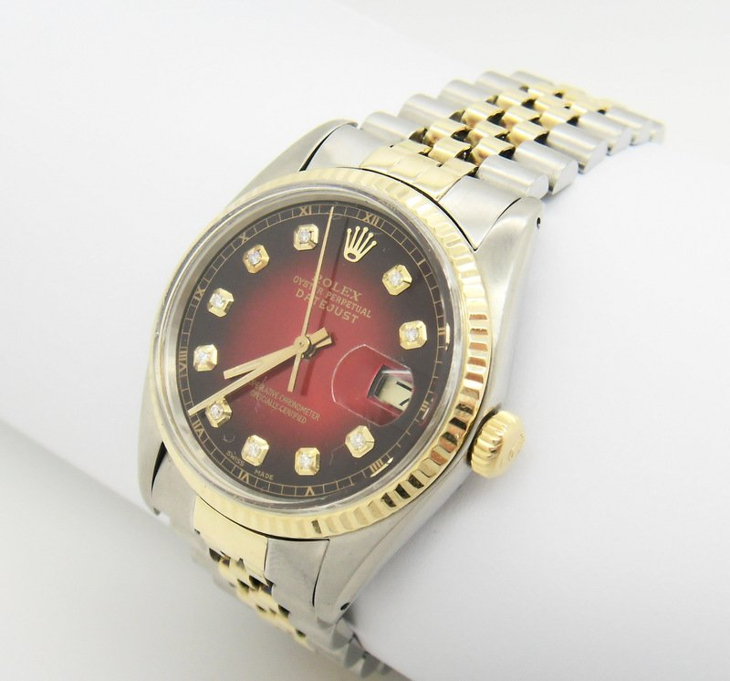 rolex datejust herren uhr mit diamanten stahl gold ebay. Black Bedroom Furniture Sets. Home Design Ideas
