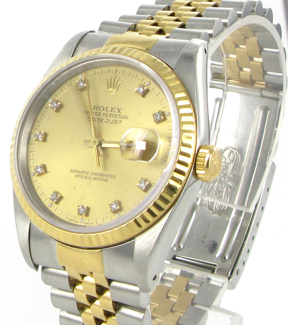 rolex datejust herren uhr mit brillanten stahl gold. Black Bedroom Furniture Sets. Home Design Ideas