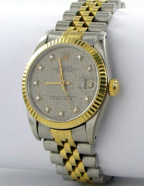 rolex datejust medium diamanten damen herren uhr mit stahl gold ebay. Black Bedroom Furniture Sets. Home Design Ideas