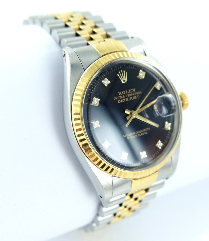 rolex datejust herren uhr mit diamanten brillanten stahl. Black Bedroom Furniture Sets. Home Design Ideas