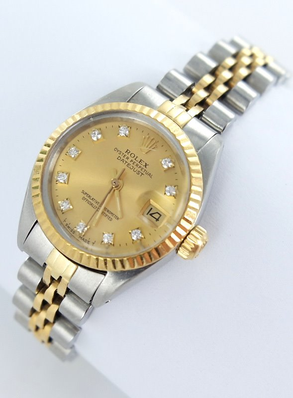 rolex datejust damenuhr mit brillanten diamanten stahl. Black Bedroom Furniture Sets. Home Design Ideas