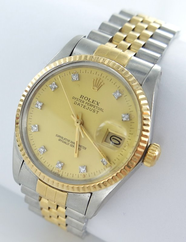 rolex datejust herren uhr stahl gold diamanten ref. Black Bedroom Furniture Sets. Home Design Ideas