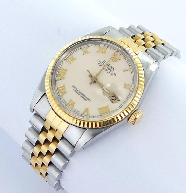 rolex datejust herren uhr mit stahl gold ebay. Black Bedroom Furniture Sets. Home Design Ideas
