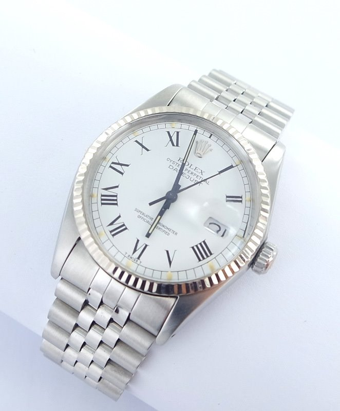 rolex datejust herren uhr mit diamanten stahl. Black Bedroom Furniture Sets. Home Design Ideas